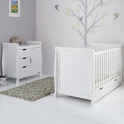 Obaby Stamford Sleigh Cot Bed 2 Piece Nursery Set in White