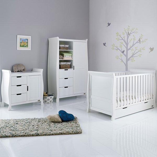 Stamford Cot Bed 3 Piece Nursery Set in White by Obaby
