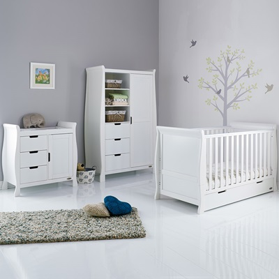 Obaby Stamford Sleigh Cot Bed 3 Piece, Baby Room Furniture