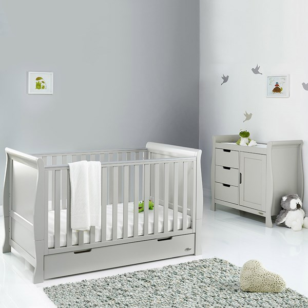 Obaby Stamford Sleigh Cot Bed 2 Piece Nursery Set in Warm Grey