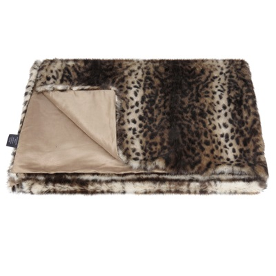 HELEN MOORE FAUX FUR THROW in Ocelot