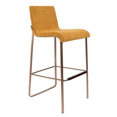 Dutchbone Flor Upholstered Bar Stool in Ochre