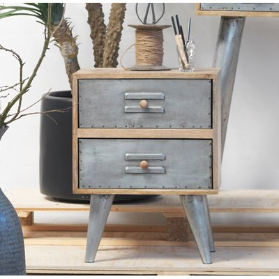 INDUSTRIAL LEIPZIG Side Table With Drawers
