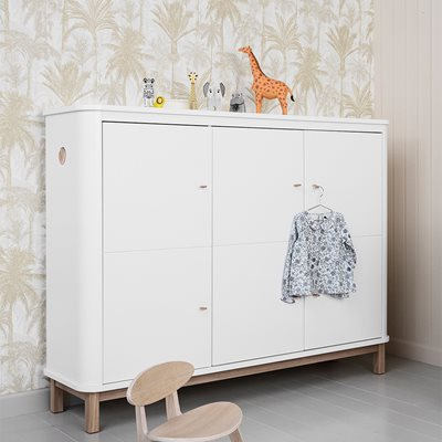 CONTEMPORARY WOOD MULTI STORAGE CUPBOARD in White and Oak