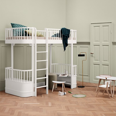 OLIVER FURNITURE WOOD CHILDREN'S HIGH LOFT BED in White