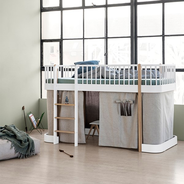 Oliver Furniture Childrens Low Loft Bed in White & Oak