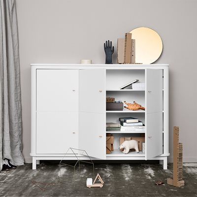 CONTEMPORARY WOOD MULTI STORAGE CUPBOARD in White