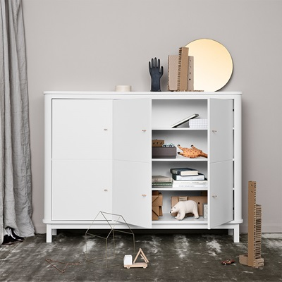 OLIVER FURNITURE WOOD MULTI STORAGE CUPBOARD in White