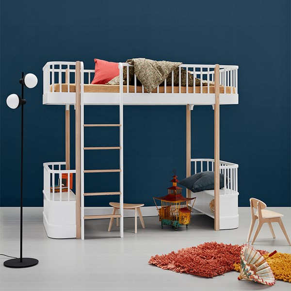 Oliver Furniture High loft Bed in White and Oak