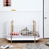 White and Oak adjustable height Cot