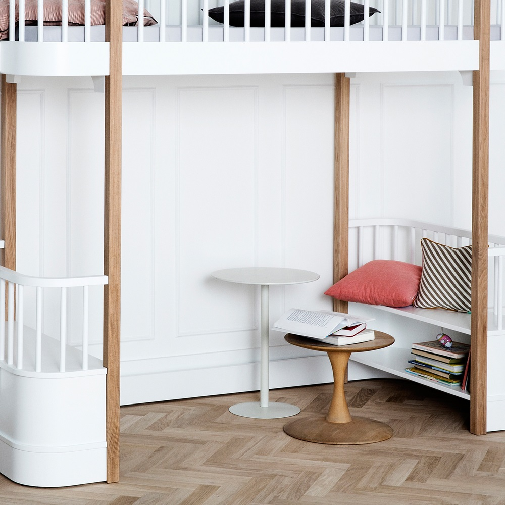 Childrens Luxury High Loft Bed In White Amp Oak With Storage