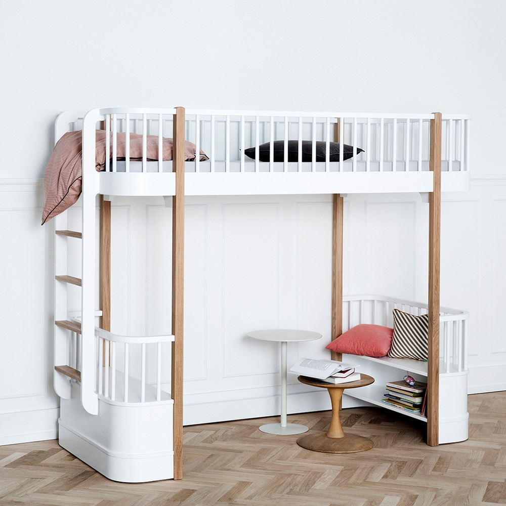 childrens luxury high loft bed in white oak with storage single be. Black Bedroom Furniture Sets. Home Design Ideas