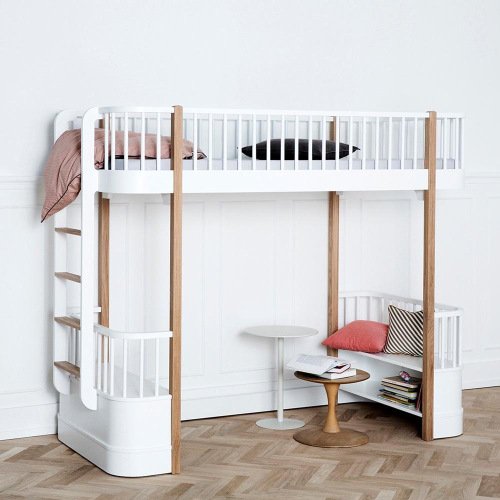 Childrens Luxury High Loft Bed In White & Oak With Storage ...