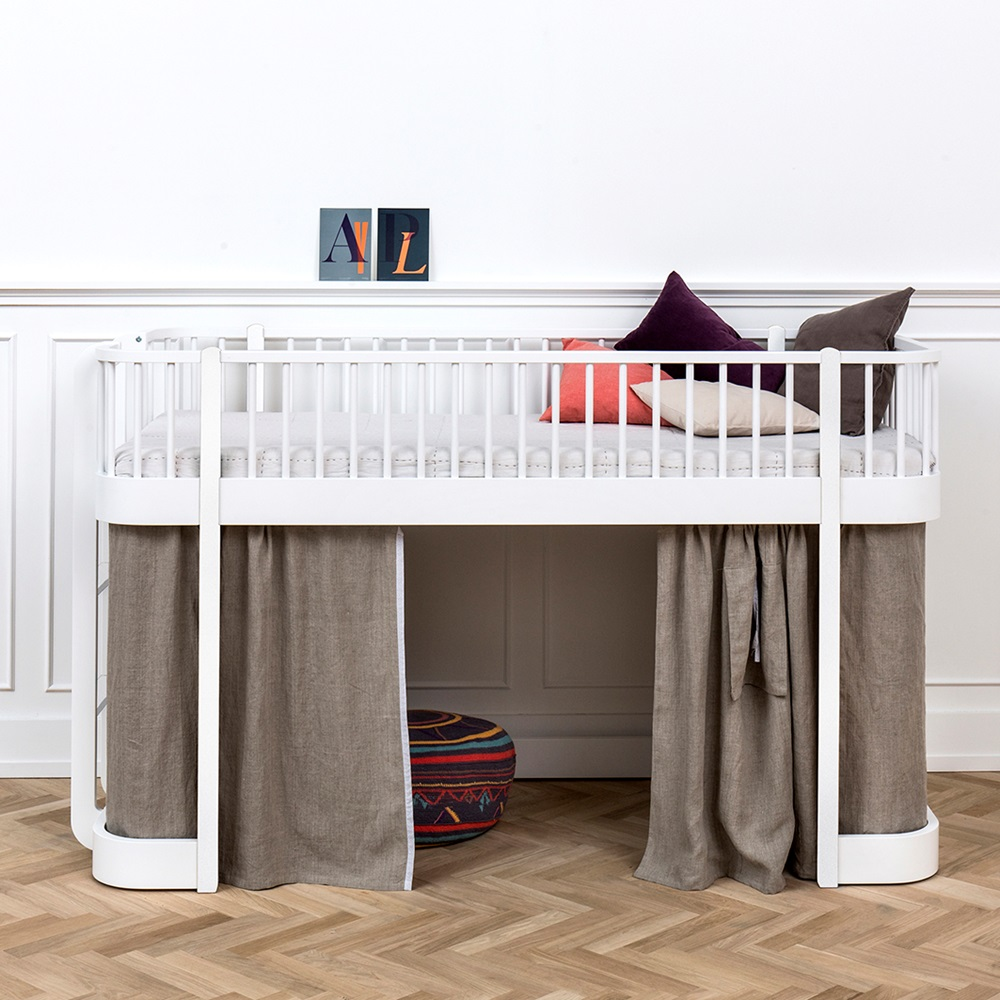 Childrens Luxury Low Loft Bed In White