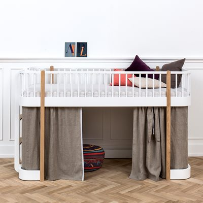 CHILDREN'S LUXURY LOW LOFT BED in White & Oak