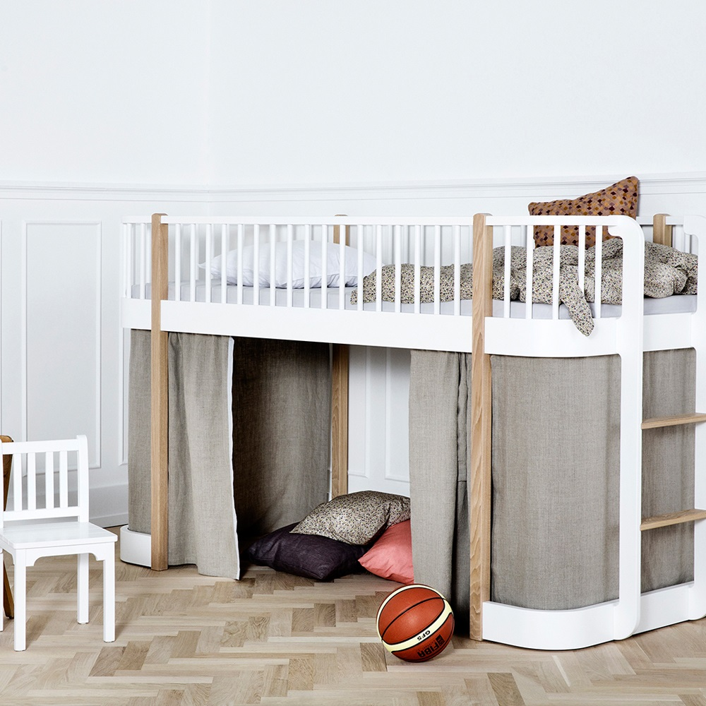 Childrens luxury low loft bed in white oak single beds cuckoolan - Rideau lit mezzanine ...