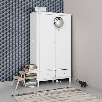 CONTEMPORARY WOOD 2 DOOR WARDROBE in White
