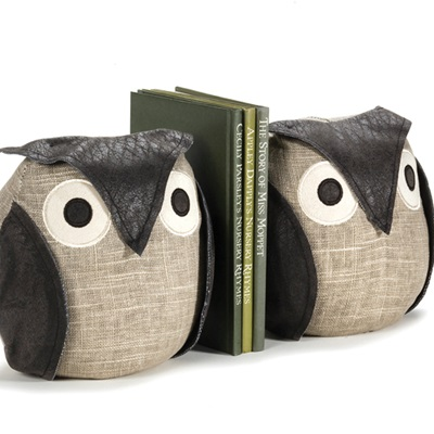 OLLIE WISE OWL Bird Animal Bookends by Dora Designs
