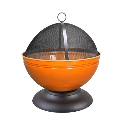 GLOBE ENAMELLED FIRE PIT in Orange with Grill