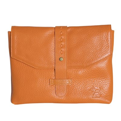 DESIGNER IPAD CASE in Tangerine Leather Envelope Style