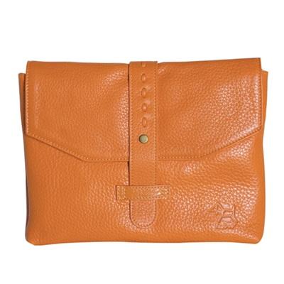DESIGNER IPAD CASE in Tangerine Leather Envelope Style