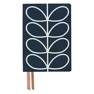 ORLA KIELY A5 NOTEBOOK in Navy Linear Stem