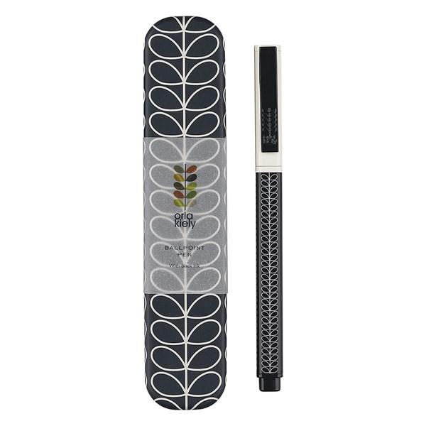 Orla Kiely Metal Ballpoint Pen in Navy Linear Stem