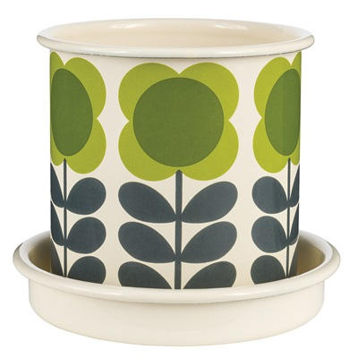 Orla Kiely Small Plant Pot in Green