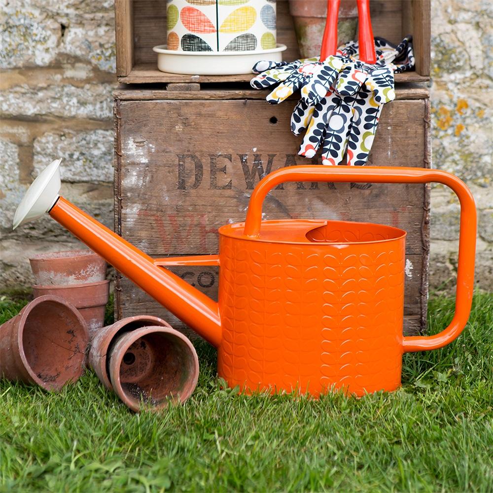 Orla kiely watering can in orange garden accessories for Home garden accessories