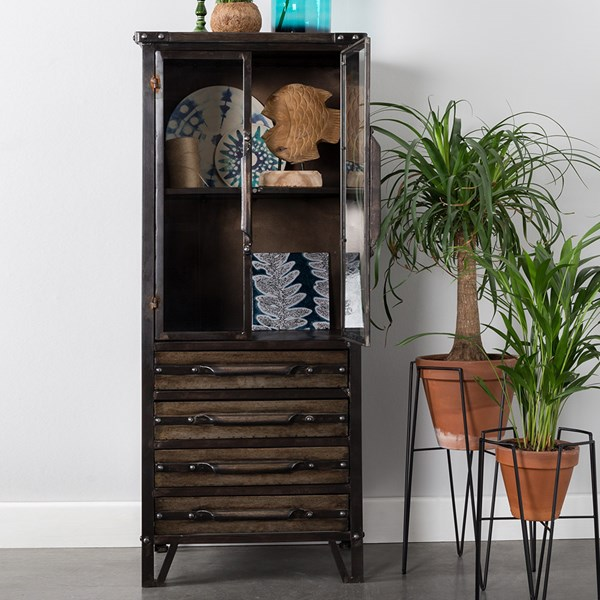 Otis Distressed Display Cabinet