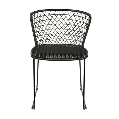 PAIR OF INDOOR / OUTDOOR DINING CHAIRS in Black