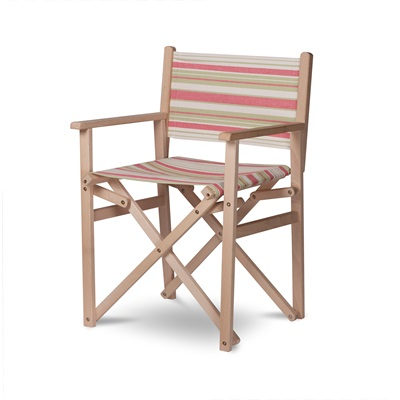 DIRECTORS OUTDOOR CHAIR In Green & Coral Stripe by Garden Trading