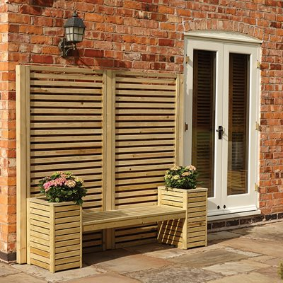 ROWLINSON WOODEN GARDEN BENCH & PLANTER  SET