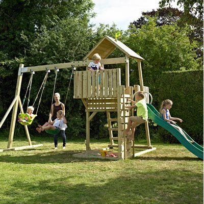 TP TOYS CHILDREN'S KINGSWOOD TOWER SET with Swings and CrazyWavy Slide