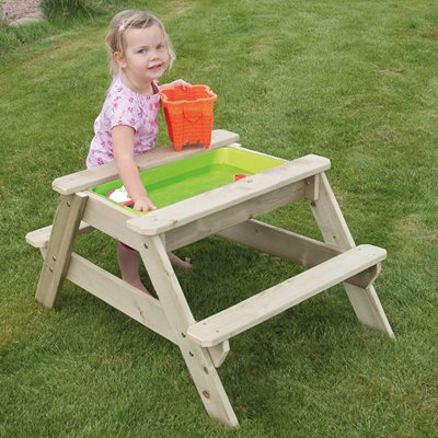 TP TOYS CHILDREN'S EARLY FUN WOODEN PICNIC TABLE SANDPIT