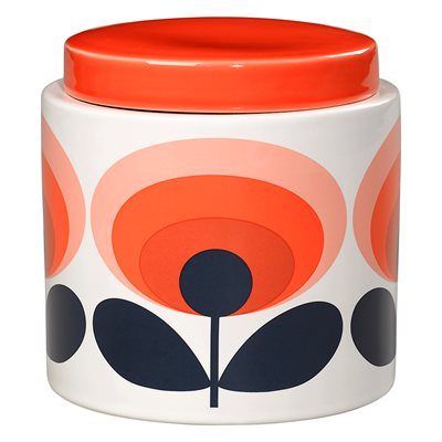 ORLA KIELY CERAMIC 1L STORAGE JAR in 70s Oval Flower Orange Print