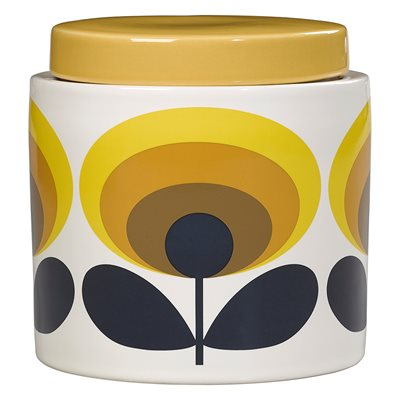 ORLA KIELY CERAMIC 1L STORAGE JAR in 70s Oval Flower Yellow Print