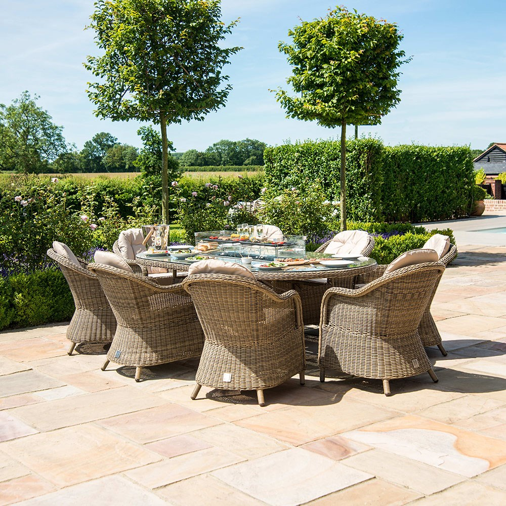Maze Rattan Winchester Oval Fire Pit Dining Set With ...
