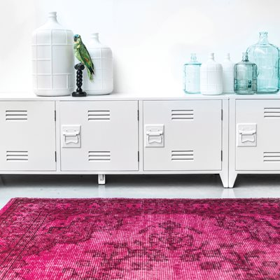 VINTAGE STYLE OVERDYED RUG in Pink