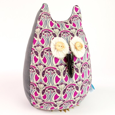 OWL LIBERTY PRINT LAVENDER DOORSTOP Mauverina Cotton