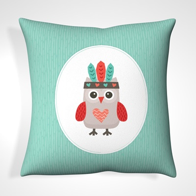 CUSHION in Teal Tribal Owl Design
