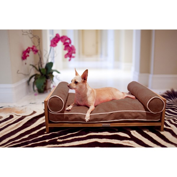 PET BED Dog and Cat Daybed with Brown Memory Foam Cushion