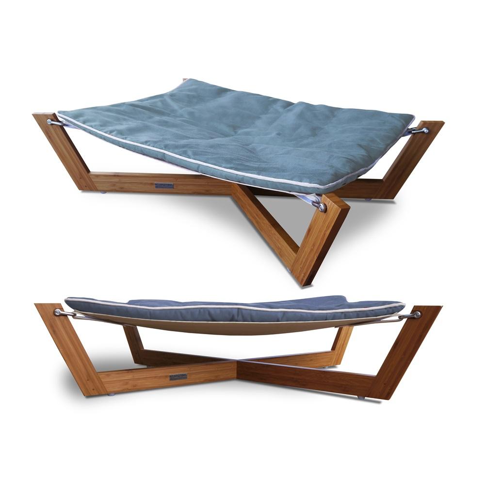 outdoor pet bed dog bed purina pet life alfresco raised outdoor  - dog hammock in blue pet beds cuckooland pethammocksmallbamboodogandcatpet