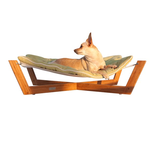 PET HAMMOCK Small Bamboo Dog and Cat Pet Bed with Kiwi Green Cushion