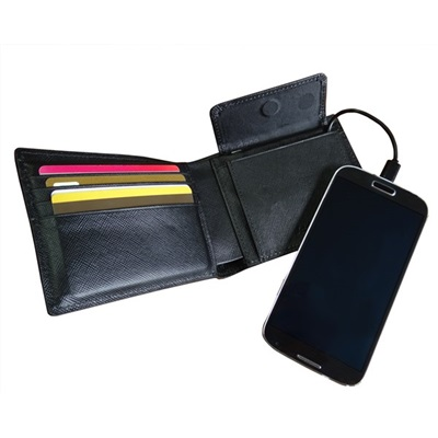 MENS POWER WALLET Phone Charger in Black