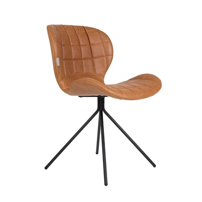 ZUIVER PAIR OF OMG LL DINING CHAIRS in Brown PU Leather