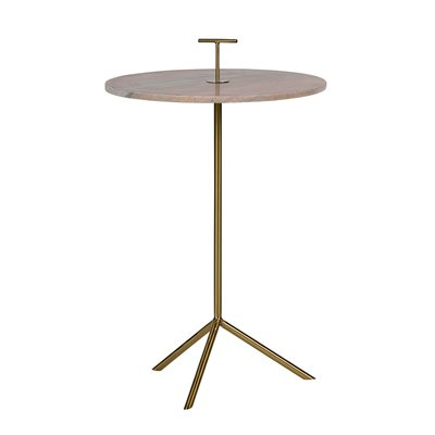 PINK MARBLE PADDLE SIDE TABLE in Gold