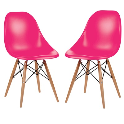 A PAIR OF DESK CHAIRS IN HOT PINK with Wooden Legs