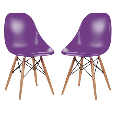 A PAIR OF DESK CHAIRS IN PURPLE with Wooden Legs