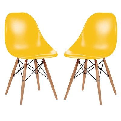 A PAIR OF DESK CHAIRS IN YELLOW with Wooden Legs